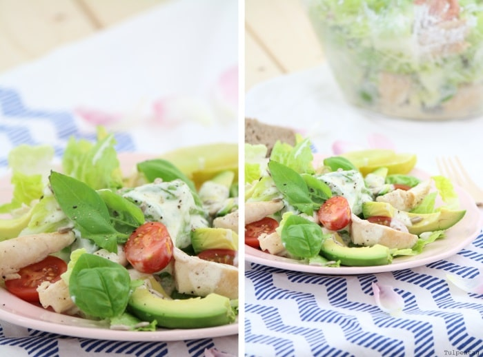 Hähnchen Avocado Salat Joghurtdressing Joghurt Dressing
