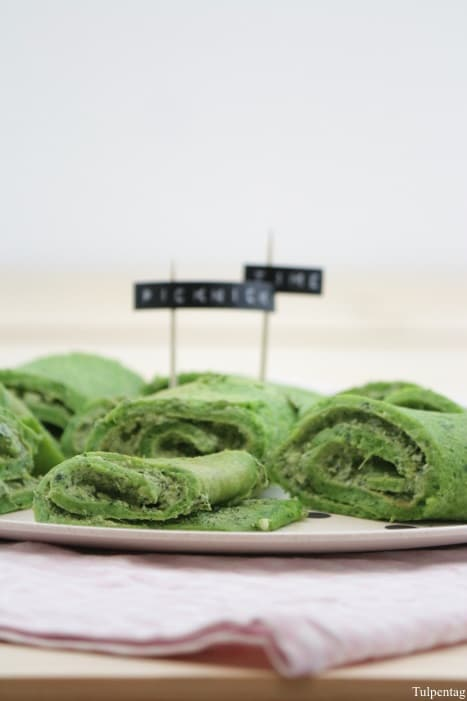 Pfannkuchen Rezept Rucola Basilikum vegetarisch
