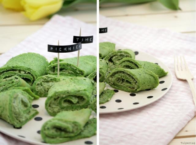 picknick snack pfannkuchen crepes gruen basilikum rucola pesto