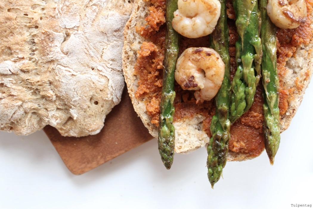 Spargel Shrimps Baguette Pesto Rezept