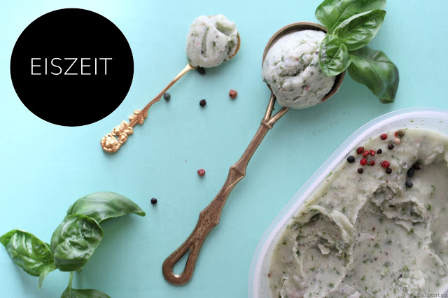 basilikumeis eis eiscreme pfeffer limetten sommer selber machen rezept Basilikum-Eis