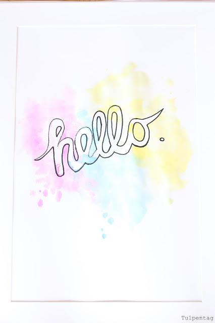 diy bild wasserfarben hello flur