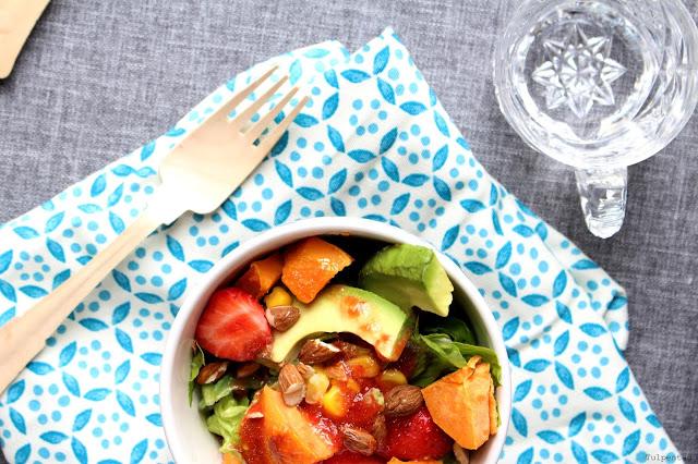 Süßkartoffelsalat Süßkartoffeln Salat Erdbeeren Avocado Sommer