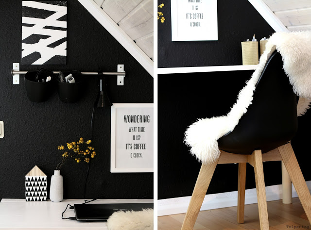 schwarze Wand Büro Arbeitsecke Home Office Freebie Mousepad Arbeitszimmer