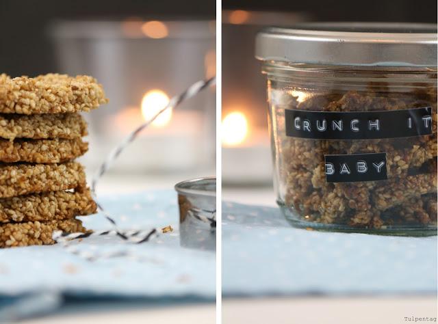 Müsli crunchy Sesam Honig Kekse Cookies Herzen verschenken