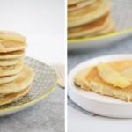 Gesunde Dinkel-Pancakes mit karamellisierten Birnen