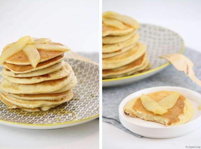 rezept dinkel pancakes fruehstueck karamellisierte birnen gesund