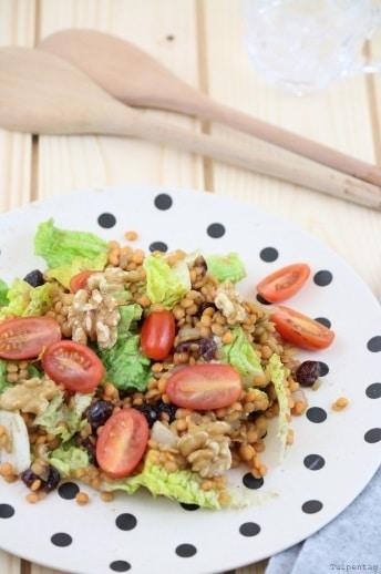 Rote Linsen Salat vegetarisch Rezept Sommer Tomaten