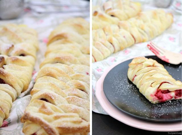 Blaetterteig Pudding Vanille Himbeeren Rezept schnell Zopf