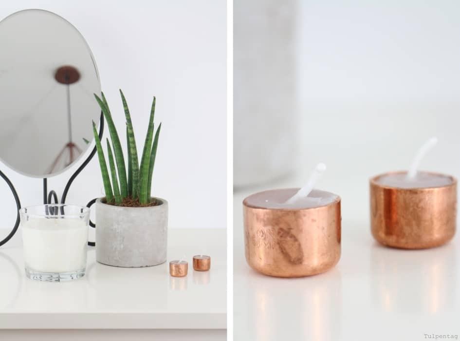 Kupfer-Kerzen DIY kerzen kupfer selber machen gießen Deko