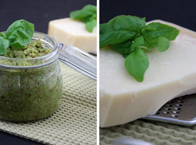 Pesto Mandeln grün grünes vegetarisch Rezept schnell