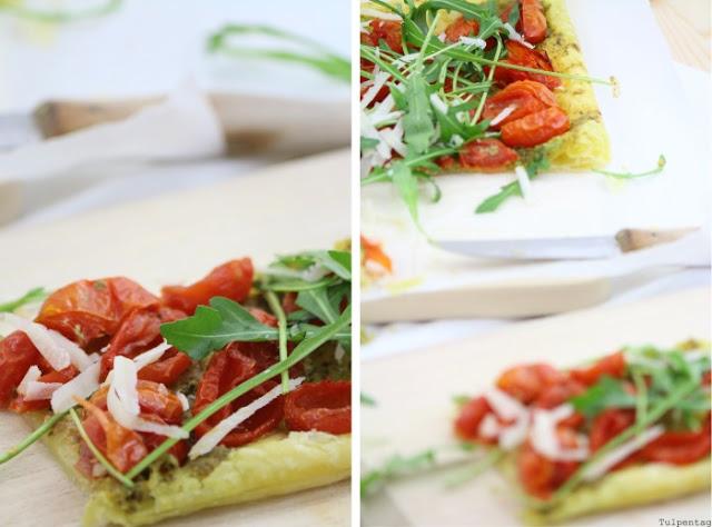 tarte rucola blaetterteig parmesan tomaten rezept