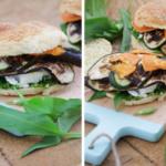Vegetarischer Burger mit Bärlauchpesto, Feta und gegrilltem Gemüse