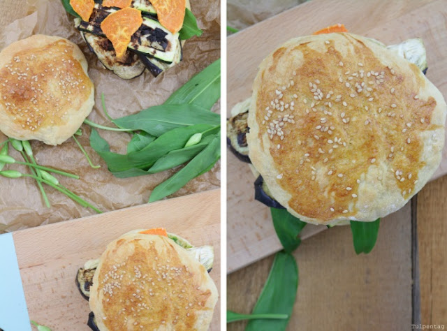 burger feta vegetarisch pesto baerlauch grillgemuese grillen burgerbuns broetchen rezept