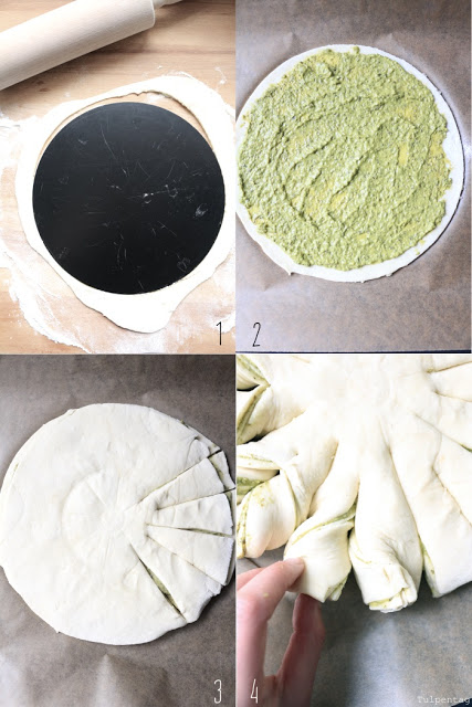 Pesto-Brot-Blume Pesto Brot backen Anleitung