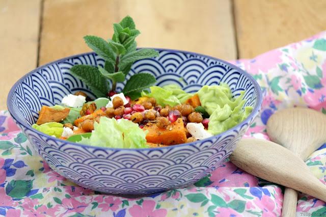 Süßkartoffelsalat Salat Kichererbsen Avocado Rezept