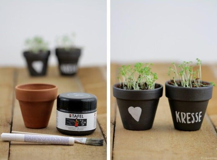 DIY Kräutertöpfe Geschenk Tafellack Tafelfarbe selbermachen