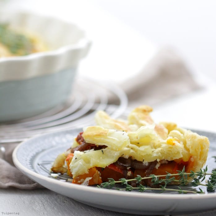 Kürbis Feta Pie backen herzhaft Rezept vegetarisch