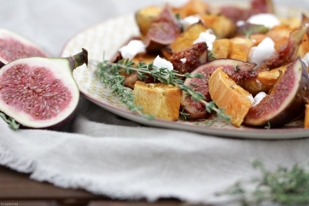 suesskartoffelsalat-feigen-ziegenkaese süßkartoffeln salat