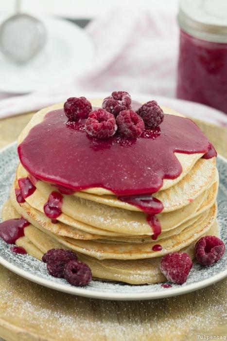Himbeer-Curd Rezept Zimt Pancakes Curd süß Pfannkuchen