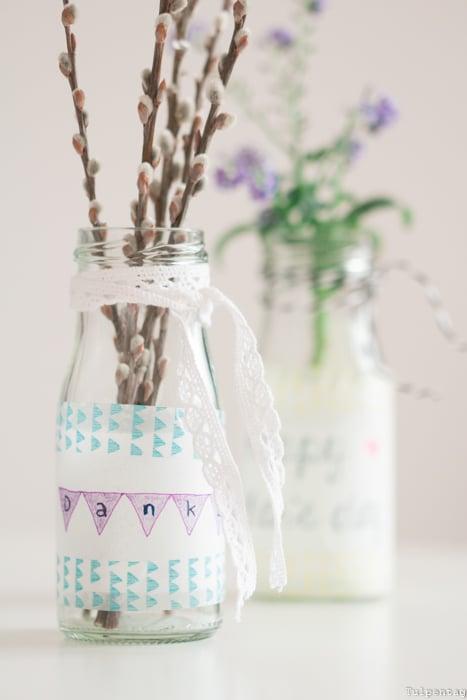 Muttertag Geschenk Vase Dankeschön DIY
