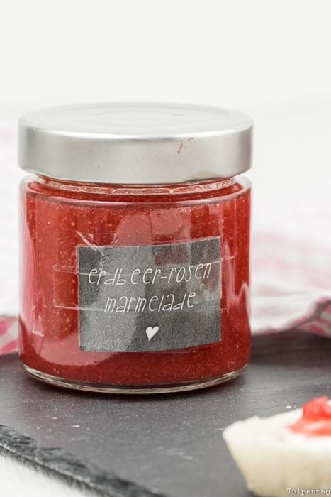 Erdbeermarmelade Rezept Marmelade Erdbeeren Rosen kochen