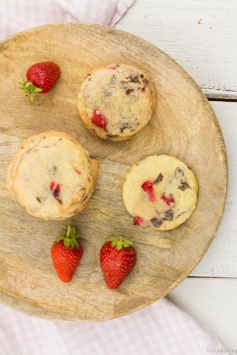 Erdbeeren Schokolade Cookies Kekse Rezept