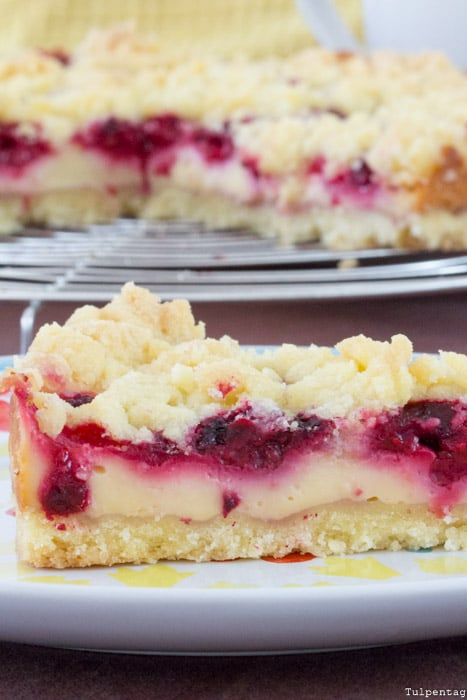 Streuselkuchen Kuchen Streusel Pudding Vanillepudding Rezept vegan