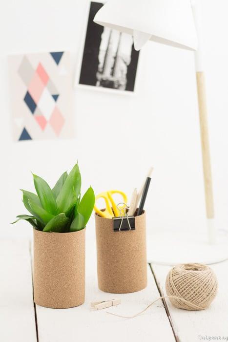 Aufbewahrung Büro Ordnung Upcycling Kork DIY selbermachen Idee basteln Konservendosen