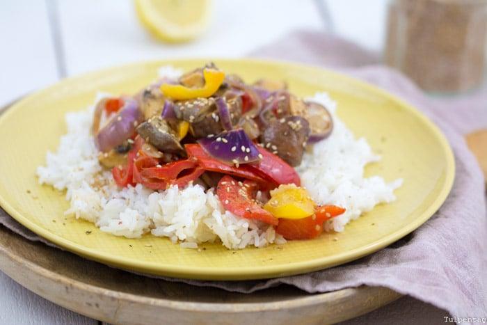 Vegetarisches Curry vegan Rezept Gemüse Sesam Reis einfach Kokosmilch