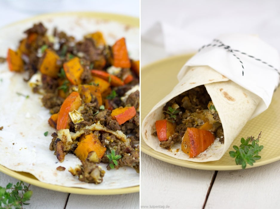 Tortilla-Wraps mit Kürbis, Hackfleisch und Ziegenkäse