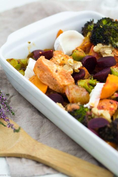 Ofengericht mit Hähnchen und herbstlichem Gemüse #lecker #gesund #schnell #rezept #herbst