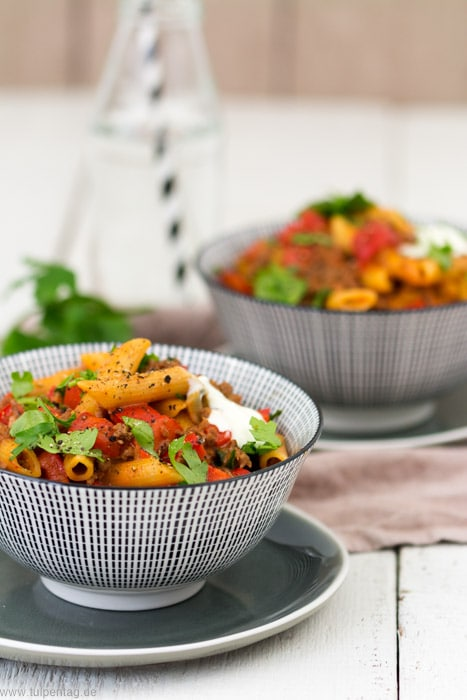 One-Pot-Pasta mit Hackfleisch und Paprika #onepot #pasta #nudeln #rezept #schnell #feierabendküche #einfach #schnellerezepte #hackfleisch