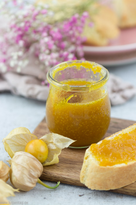 Marmelade aus Physalis. Physalis-Marmelade. Aufstrich aus Andenbeeren. #rezept #süß #frühstück Auch gut als Geschenk aus der Küche.