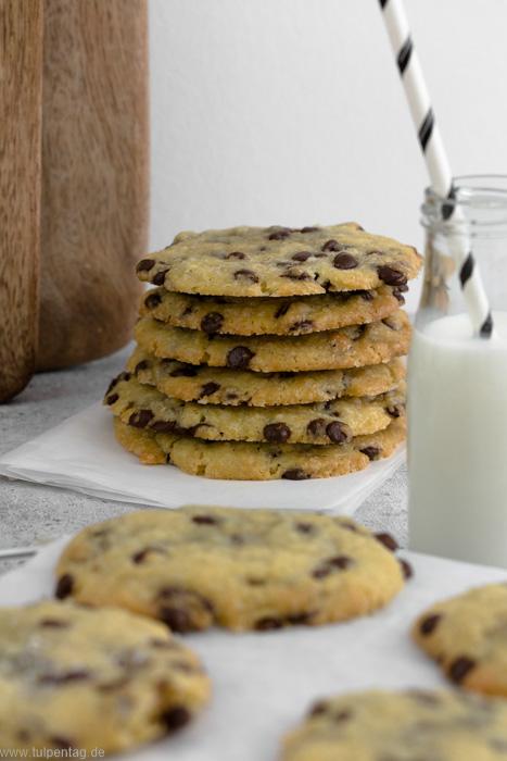 Salted Chocolate Chip Cookies. Einfaches und schnelles Rezept für Kekse mit Schokolade.